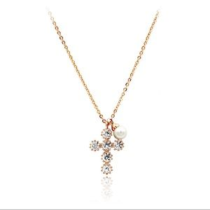 Mini cross crystal pearl rose gold necklace